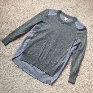 J crew sweater/striped shirt